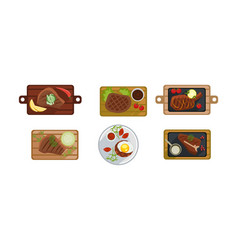 beef steak set grilled meat on a wooden board vector image
