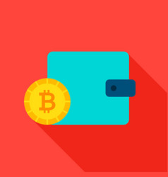 bitcoin purse flat icon vector image