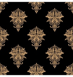 Black and beige floral seamless pattern vector image