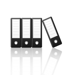 black binders vertical isolated on white vector image