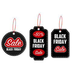 black friday sale tag set vector image