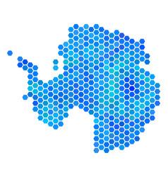 Blue hexagon antarctica map vector