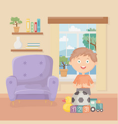 Boy with many toys in living room home vector