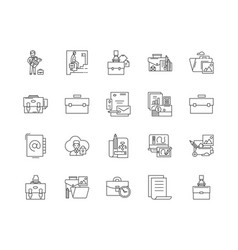 briefcase line icons signs set outline vector image
