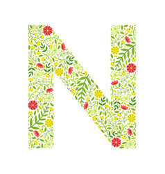 capital letter n green floral alphabet element vector image