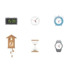 Clock and time icon set vector image