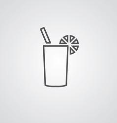 cocktail outline symbol dark on white background vector image