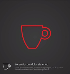 coffee outline symbol red on dark background logo vector image