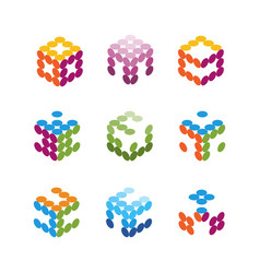 collection logos consists small dots vector image