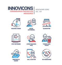 coronavirus protective measures - line design vector image