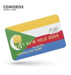 Credit card with Comoros flag background for bank vector
