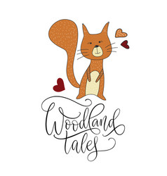 cute cartoon squirrel with lettering vector image