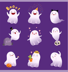 cute white flying ghosts collection adorable vector image