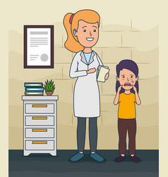 Dentist woman and patient girl with toothache vector