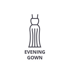 Evening gown line icon outline sign linear vector
