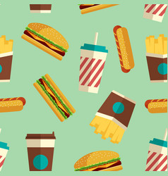 fast food icons pattern in flat style vector image