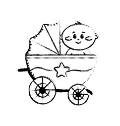 figure security stroller with bachild inside vector image