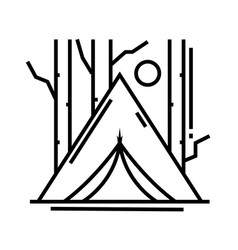 Forest camp line icon concept sign outline vector