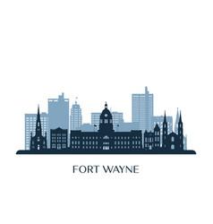 fort wayne skyline monochrome silhouette vector image