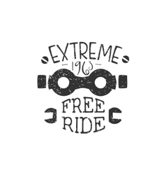 Freeride Vintage Label With Glasses vector image