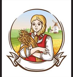 girl farmer with the wheat on farmer background vector image