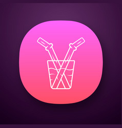 Glass drinking straw app icon vector