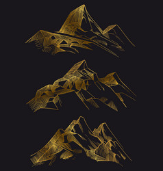 Golden mountains isolated on black background vector