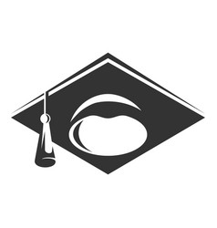 graduate cap black icon academic wisdom and vector image