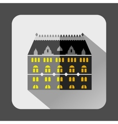 Grey building with arched windows icon flat style vector image