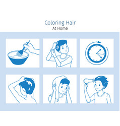 Hair colouring process steps young man vector