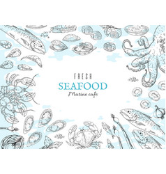 hand drawn seafood background fish restaurant vector image