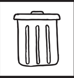 hand drawn trash can doodle icon vector image