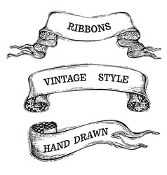 Hand-drawn vintage ribbons set isolated on white vector
