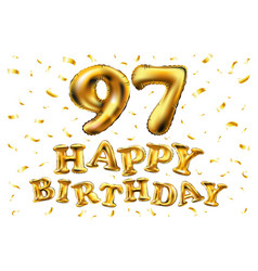 happy birthday 97th celebration gold balloons and vector image