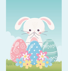 happy easter day cute rabbit delicate eggs vector image