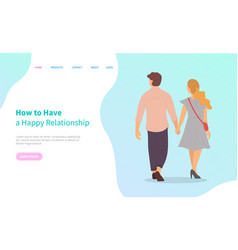 Happy people walk holding hands back view vector