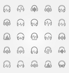 headphones with sound wave outline icons vector image