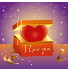 Heart gift box Declaration of love vector