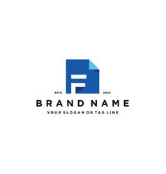 Letter f document logo design vector