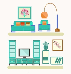 Living room with furniture Flat style vector