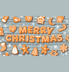 merry christmas greeting card text made vector image