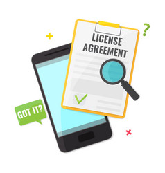 mobile and license agreement contract vector image