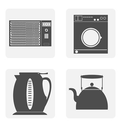monochrome icon set with house kitchen vector image