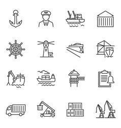 Monochrome simple sea port icon set vector
