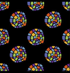 Mosaic pattern cirlce on black vector