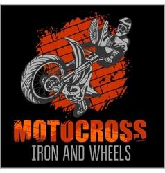 Motocross sport - grunge poster vector image