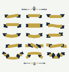 navy blue and golden ribbon banners icons set vector image