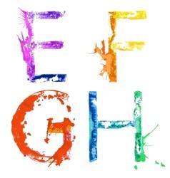 paint splash font EFGH vector image