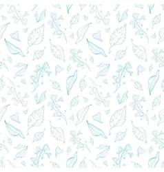 Pastel line art leaves seamless pattern vector