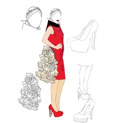Project for a high fashion dress vector